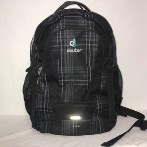Deuter Giga Grey Black Plaid Multi-Pocket Backpack